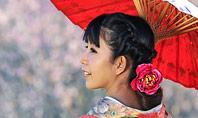 Asian Woman Wearing Traditional Japanese Kimono Presentation Template