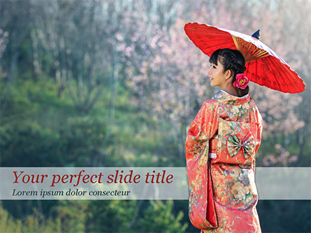 Asian Woman Wearing Traditional Japanese Kimono Presentation Template, Master Slide