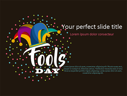 Fools Day Background with Jester's Hat Presentation Template, Master Slide