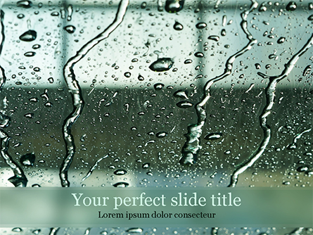 Water Drops on Car Glass Presentation Template, Master Slide