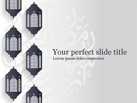 Ramadan Kareem Background with Lanterns Presentation Template, Master Slide