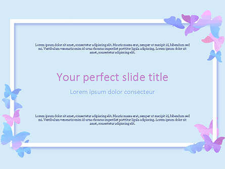 Delicate Frame with Butterflies Presentation Template, Master Slide