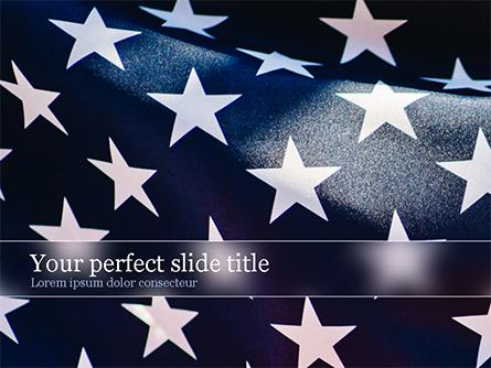 Closeup Photo of USA Flag Presentation Template, Master Slide