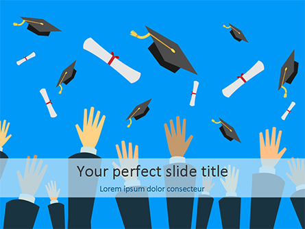 Hands Throwing Graduation Hats and Diplomas in the Air Presentation Template, Master Slide