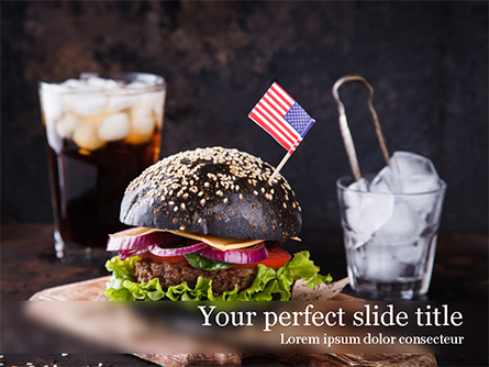 Burger with a Black Bun Presentation Template, Master Slide