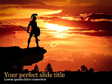 Spartan Warrior Silhouette Presentation Template, Master Slide