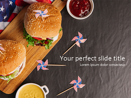 Top View of Hamburgers and Sauces Presentation Template, Master Slide