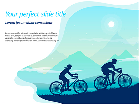 Mountain Travel on Bicycle Presentation Template, Master Slide