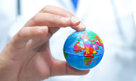 Doctor Holding World Globe Presentation Template