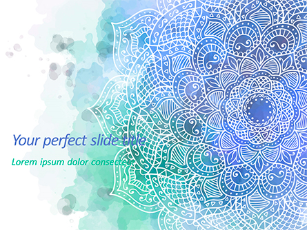 Blue Mandala Flower Presentation Template Presentation Template, Master Slide