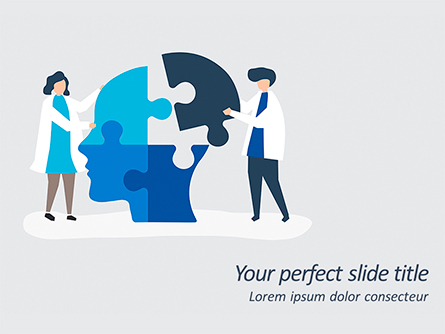 People Connecting Jigsaw Pieces of a Head Together Presentation Template, Master Slide