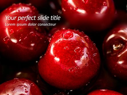 Wet Cherry Closeup Presentation Template, Master Slide