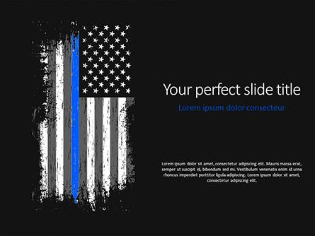 Thin Blue Line American Flag Presentation Template, Master Slide