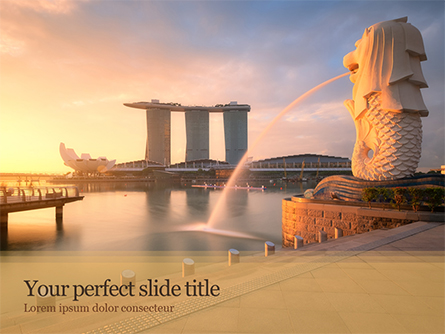 Morning View to Marina Bay Sands Presentation Template, Master Slide