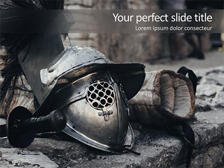Ancient Medieval Helmet Presentation Template, Master Slide