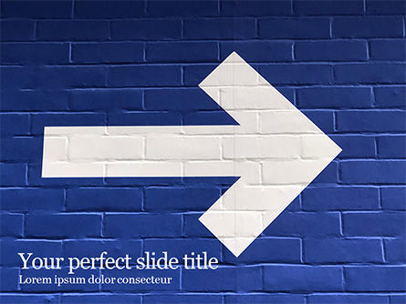 Arrow Direction Sign Painted on Blue Wall Presentation Template, Master Slide