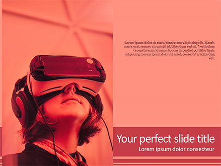 Woman Wearing VR Headset Presentation Template, Master Slide