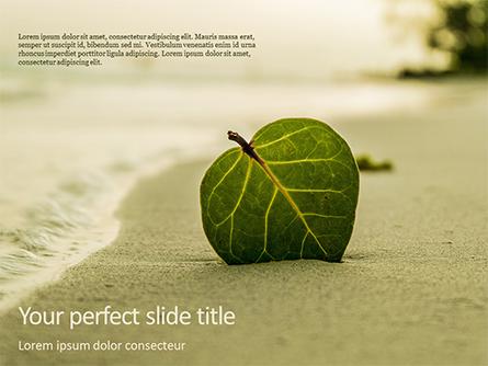 Leaf in Sand on the Beach Presentation Template, Master Slide