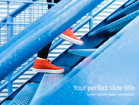 Person Stepping Up Blue Stairs Presentation Template, Master Slide