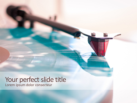 Vinyl Player Stylus on a Rotating Disc Presentation Template, Master Slide