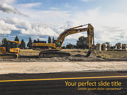 Road Construction Machinery Presentation Template, Master Slide