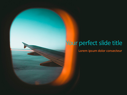 View of Plane Wing Through Porthole Presentation Template, Master Slide