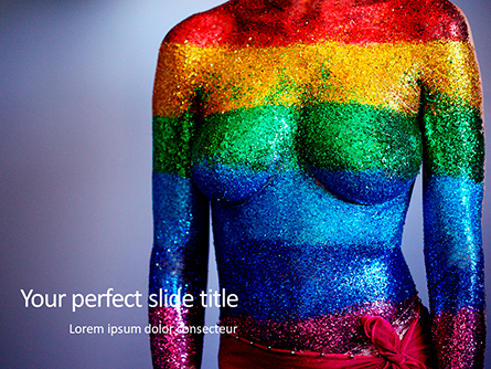 Woman Body in Colored Glitter Presentation Template, Master Slide