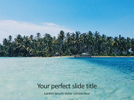 Beautiful Beach with Palm Trees Presentation Template, Master Slide