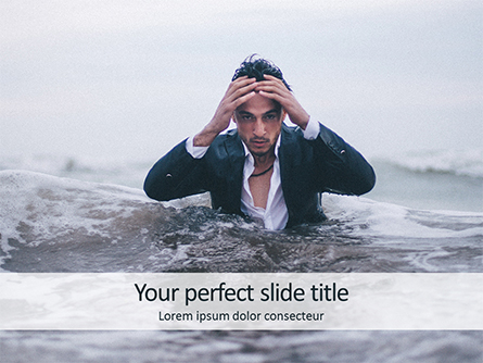 Handsome Man Coming out of the Sea Presentation Template, Master Slide