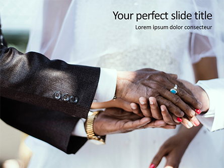 Closeup Photo of Hands on Wedding Ceremony Presentation Template, Master Slide