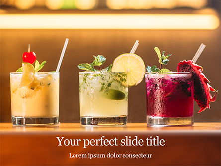 Three Tropical Cocktails Presentation Template, Master Slide
