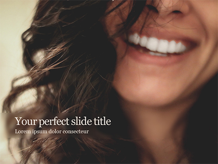 Close-up Beautiful Female Smile Presentation Template, Master Slide