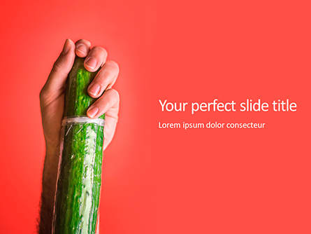 Cucumber in a Man Hand Presentation Template, Master Slide