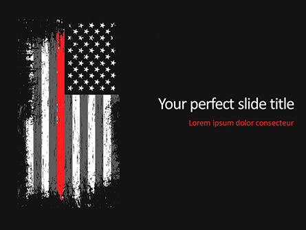 Thin Red Line USA Flag Presentation Template, Master Slide