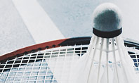 Close-up Badminton Racket and Shuttlecock Presentation Template