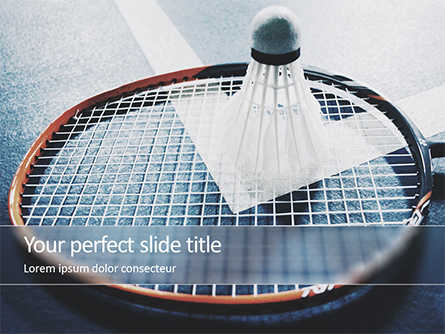 Close-up Badminton Racket and Shuttlecock Presentation Template, Master Slide
