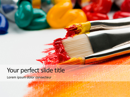 Close-up Brushes with Colorful Oil Paints Presentation Template, Master Slide