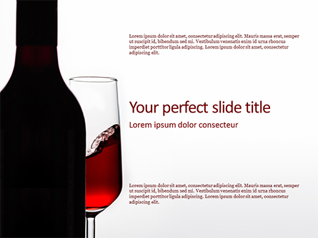 Bottle of Red Wine and Half Full Glass on White Background Presentation Template, Master Slide