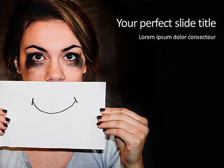Stressed Woman Holding Sheet of Paper with Hand-Drawn Smile Presentation Template, Master Slide