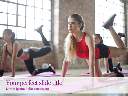 Beautiful Fitness Girls Doing Exercise Presentation Presentation Template, Master Slide
