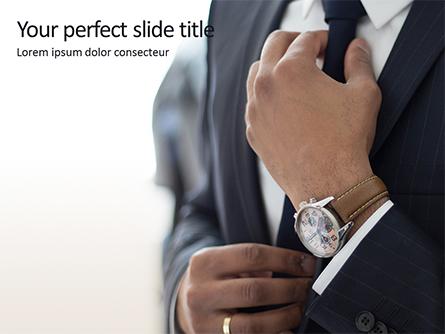 A Businessman Straightens His Tie Presentation Presentation Template, Master Slide