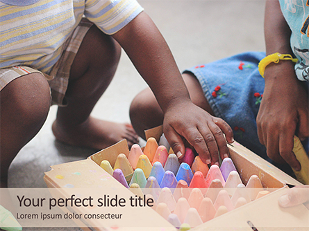 Toddlers are Playing with Full Box of Colored Chalk Presentation Presentation Template, Master Slide