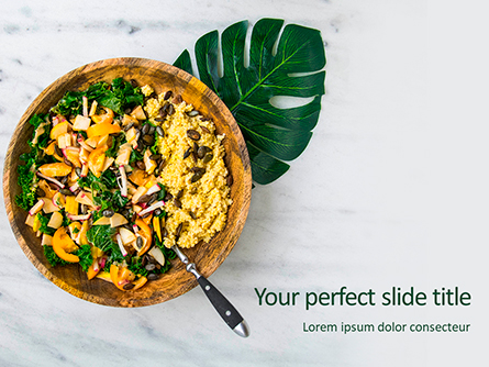 Salad of Quinoa Seeds and Vegetables Presentation Presentation Template, Master Slide