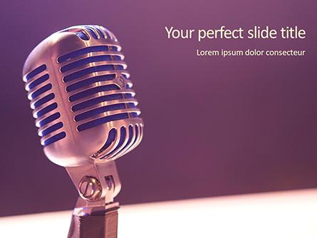 Silver Old Fashioned Stage Microphone Presentation Presentation Template, Master Slide
