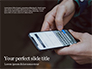 Man Typing Text Message and SMS with Smartphone Presentation slide 1