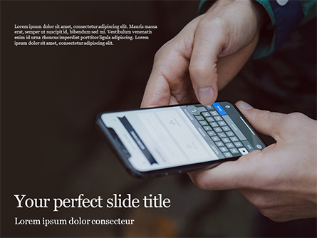 Man Typing Text Message and SMS with Smartphone Presentation Presentation Template, Master Slide