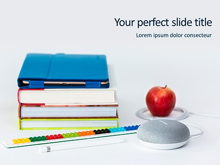 Stack of Books with Tablet PC and Apple Presentation Presentation Template, Master Slide
