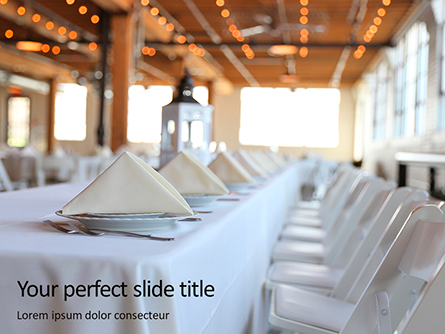 Long Table Served for Banquet Presentation Presentation Template, Master Slide