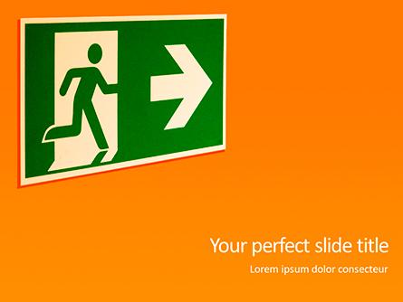 Emergency Exit Sign on Orange Background Presentation Presentation Template, Master Slide
