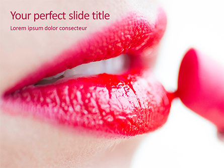 Closeup of Beautiful Woman Lips with Red Lipstick Presentation Presentation Template, Master Slide